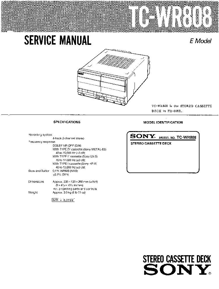 SONY TC-WR808 Service Manual download, schematics, eeprom