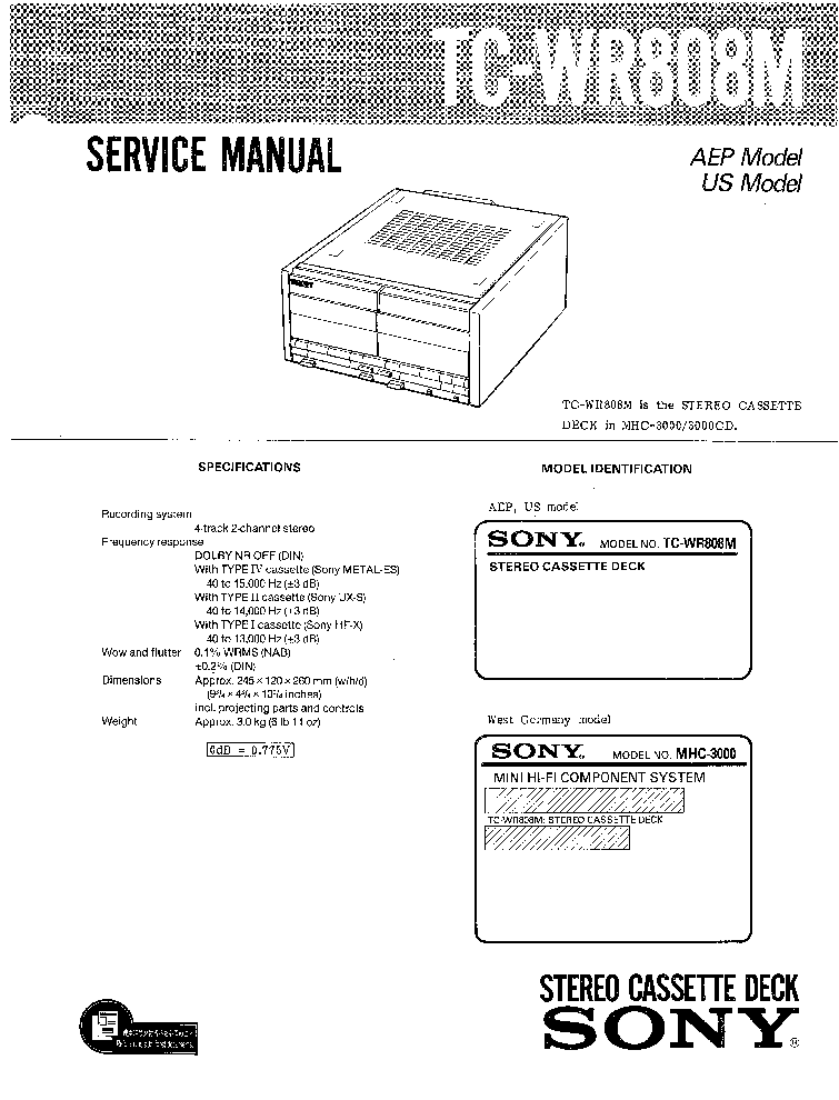 SONY TC-WR808M Service Manual download, schematics, eeprom