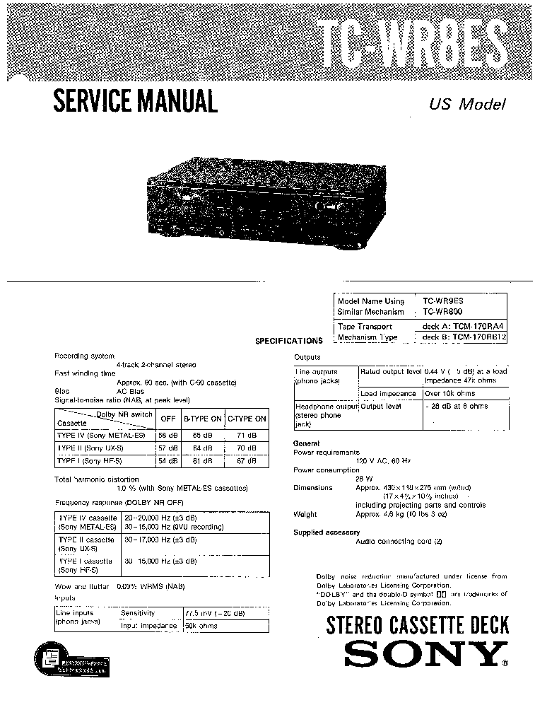 SONY HCD-A290 LBT-A290-SM Service Manual free download