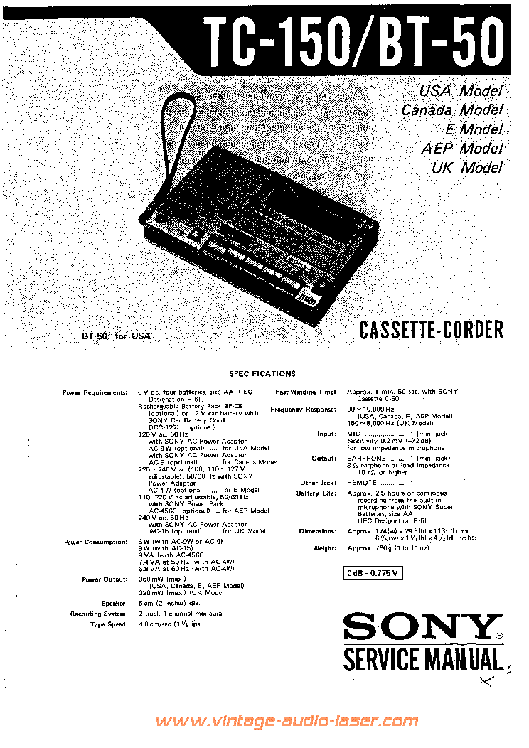 SONY TC150 CASSETTE-CORDER Service Manual download