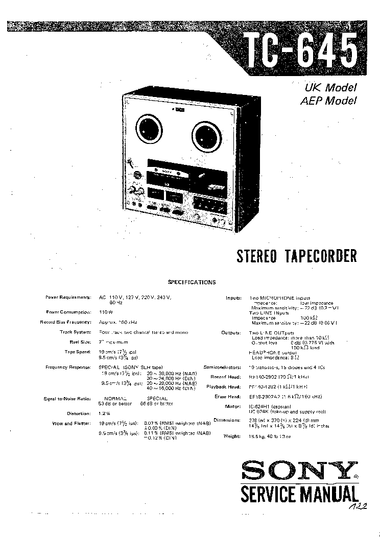SONY TC645-565-1 Service Manual download, schematics