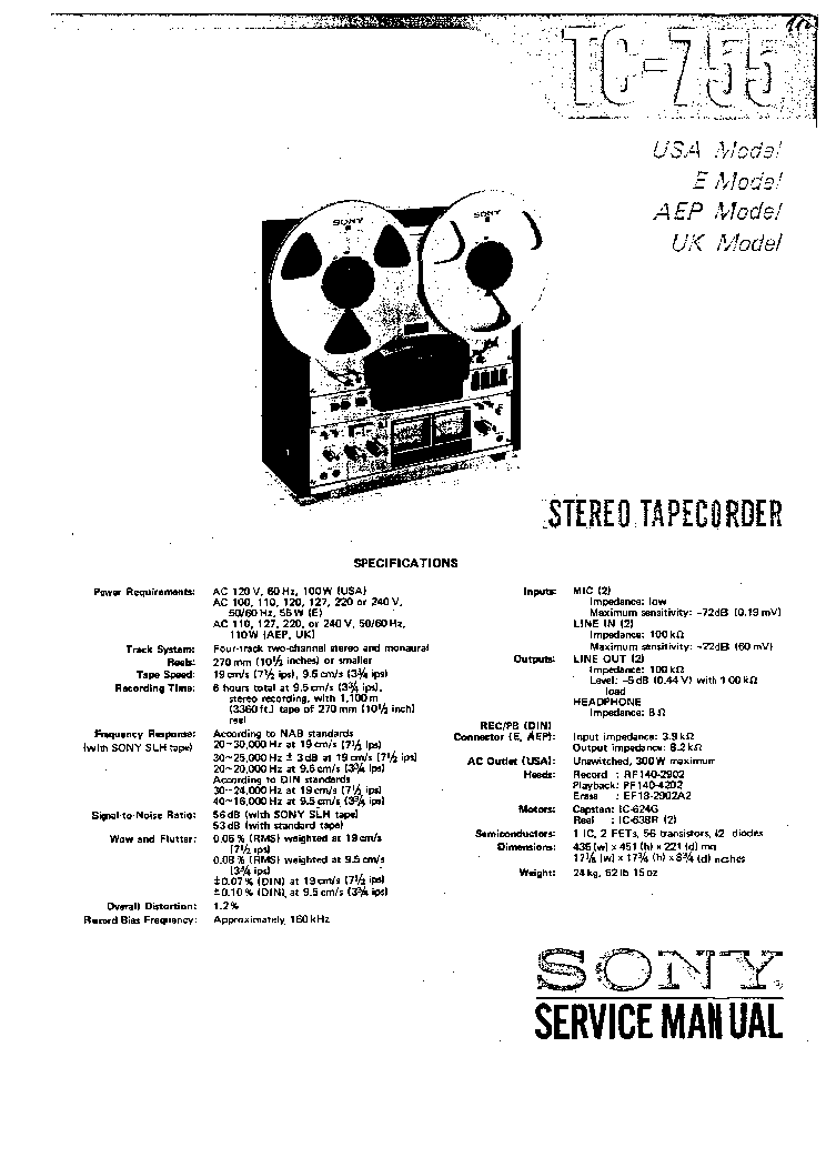 SONY TC755 SM Service Manual download, schematics, eeprom