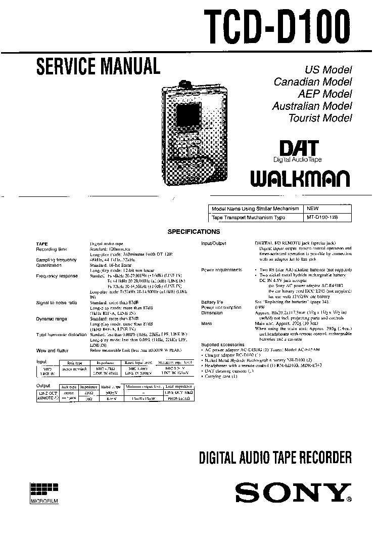 SONY TCD-D100 DIGITAL AUDIO TAPE RECORDE Service Manual