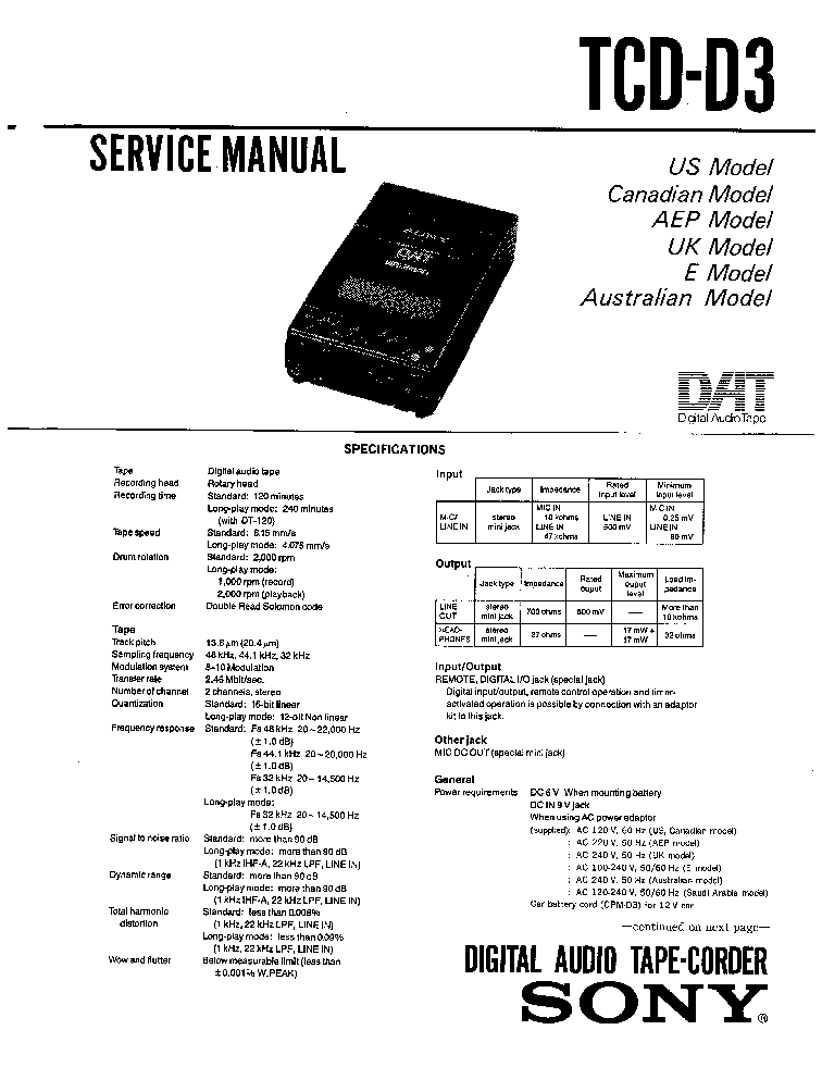 SONY TCD-D3 Service Manual download, schematics, eeprom