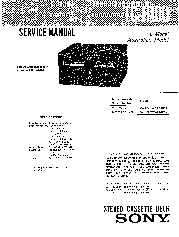 SONY TC-KA6ES Service Manual download, schematics, eeprom