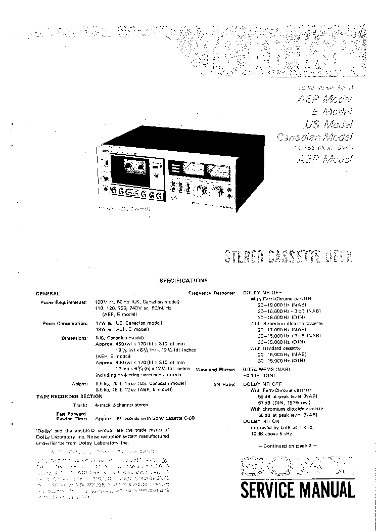 SONY TA-1630 SM Service Manual download, schematics