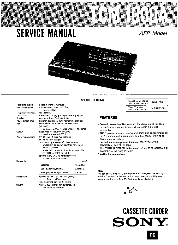 SONY TCM-1000A Service Manual download, schematics, eeprom