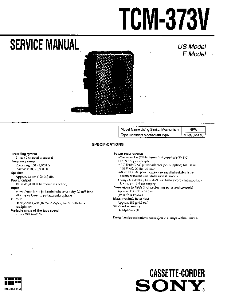 SONY HCD-101 Service Manual free download, schematics