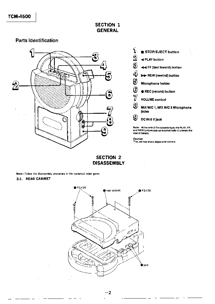 SONY TCM-4500 Service Manual download, schematics, eeprom