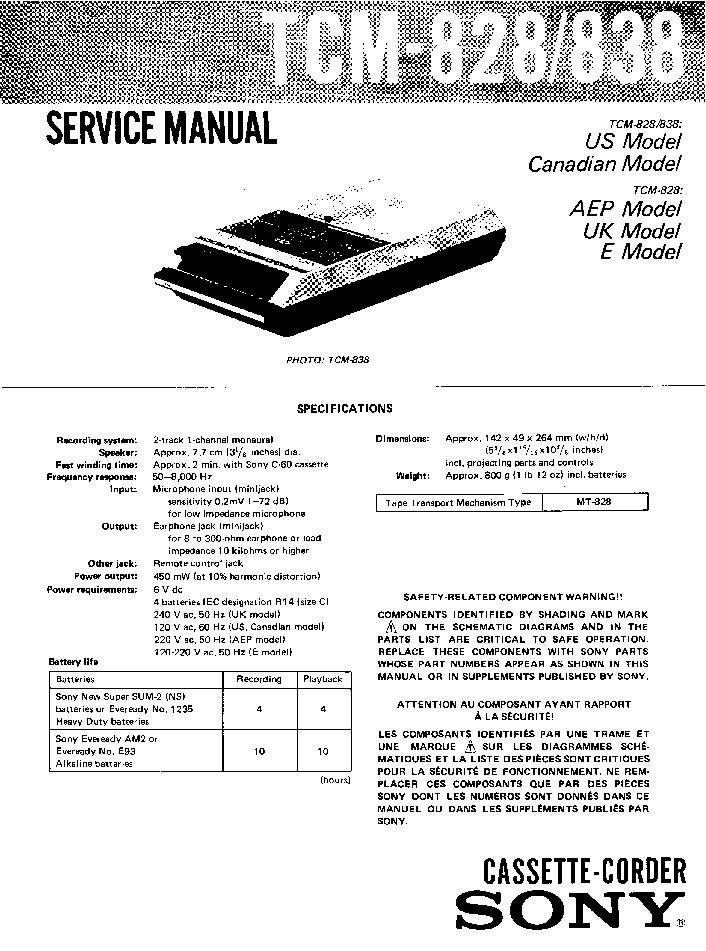 SONY CDX-F7500 Service Manual free download, schematics