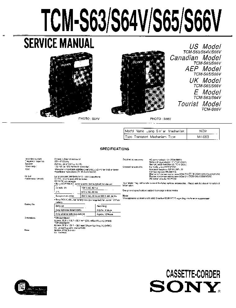 SONY TCM-S63 S64V S65 S66V Service Manual download