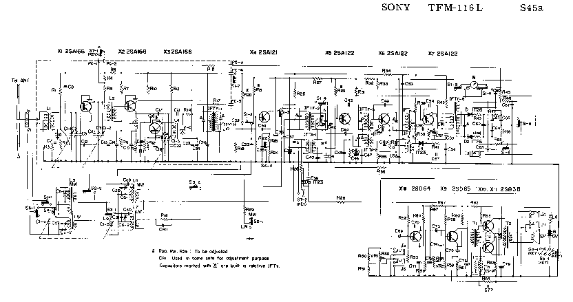 SONY TFM-116L SM Service Manual download, schematics