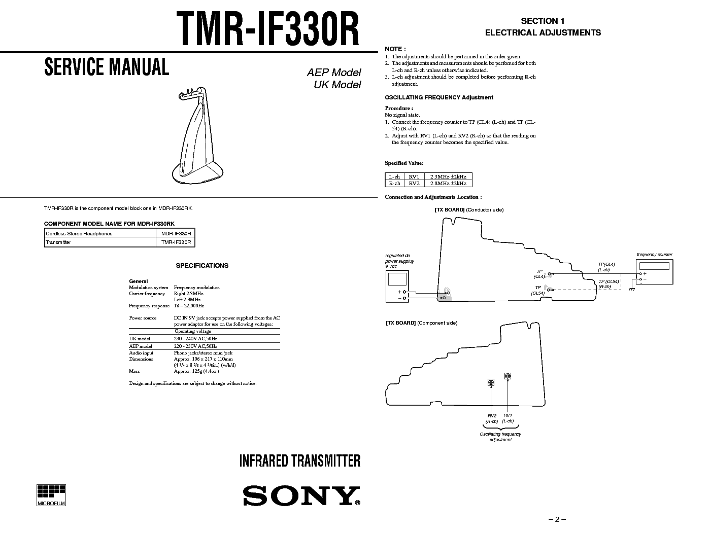 SONY TMR-IF330R SM Service Manual download, schematics