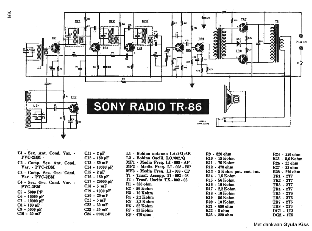 medium resolution of sony tr86 transistor radio sch service manual 1st page
