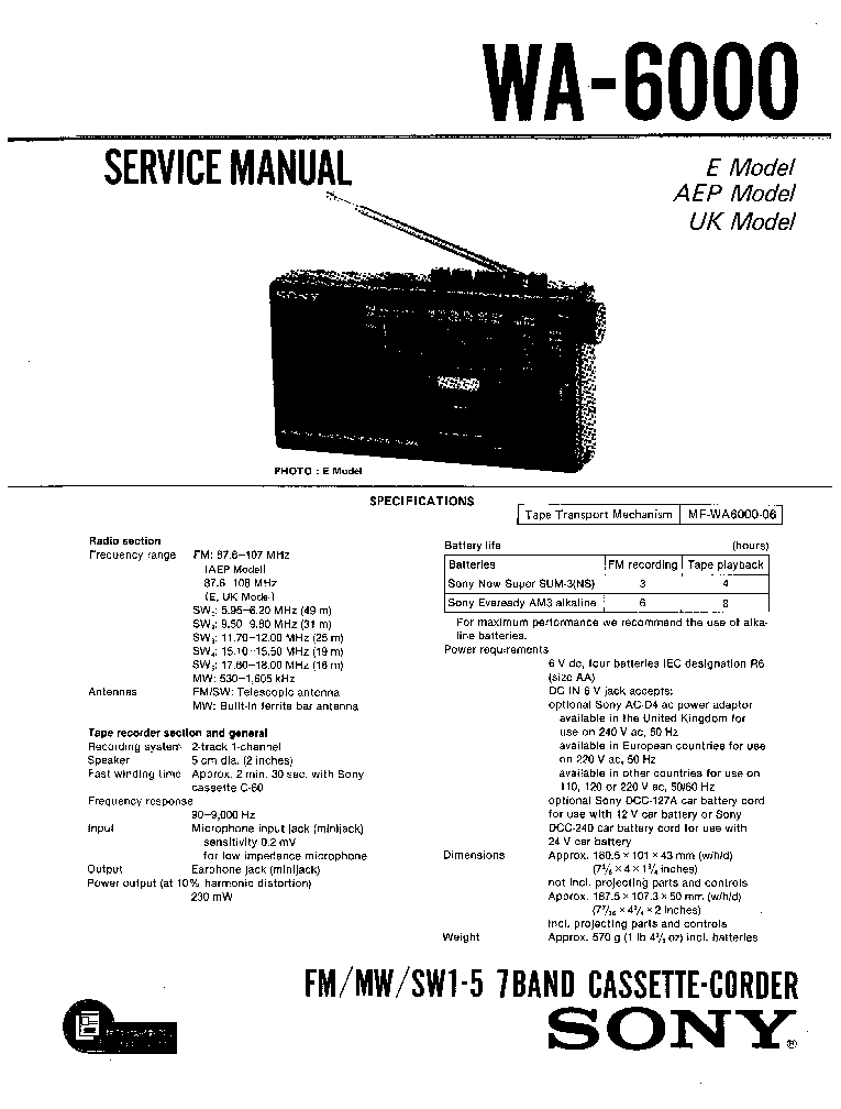 SONY WA-6000 Service Manual download, schematics, eeprom