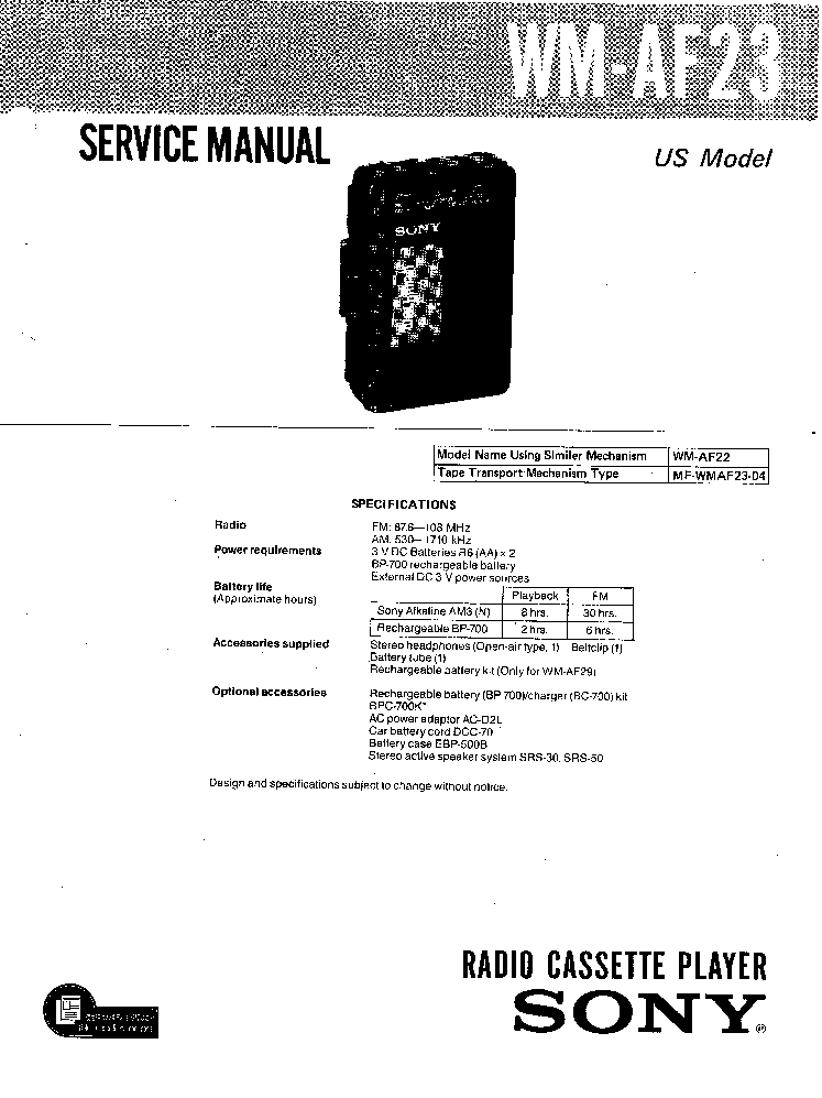 SONY WM-AF23 Service Manual download, schematics, eeprom