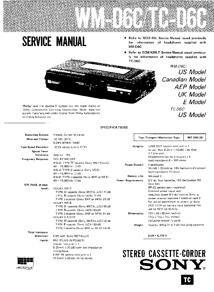 SONY WM-D6C TC-D6C SM Service Manual download, schematics