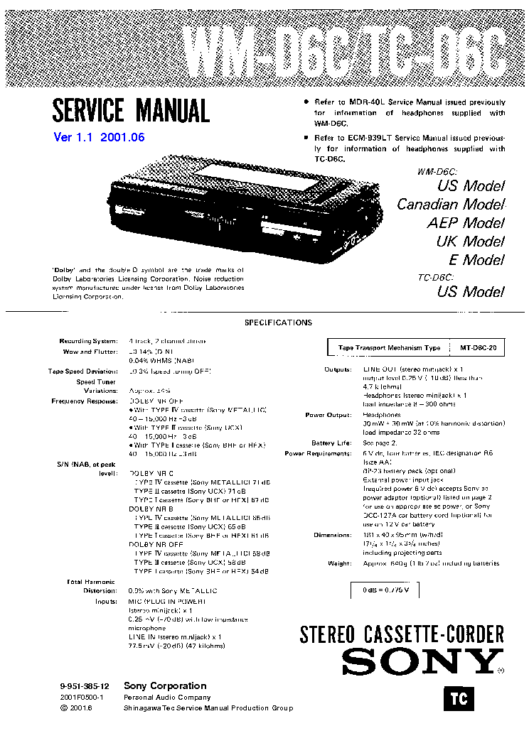 SONY WM-D6C TC-D6C VER-1.1 Service Manual download