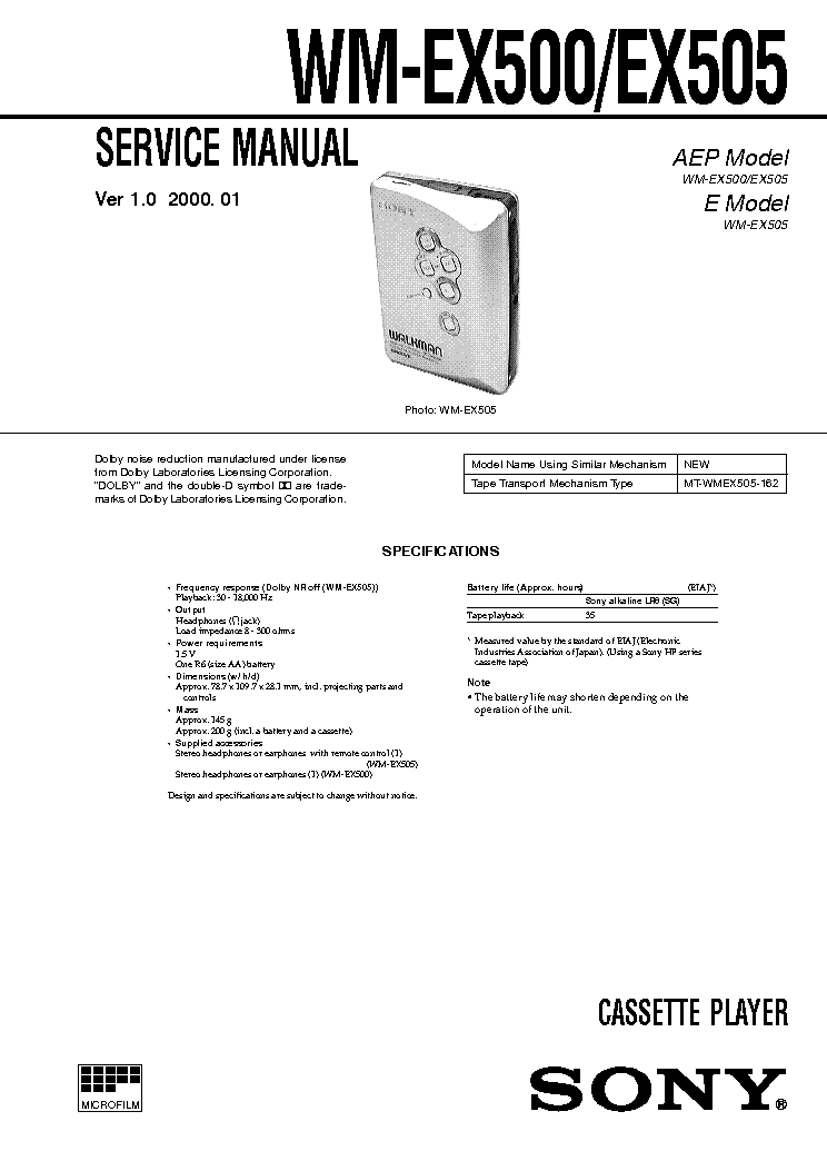 SONY WM-EX500 VER-1.0 Service Manual download, schematics
