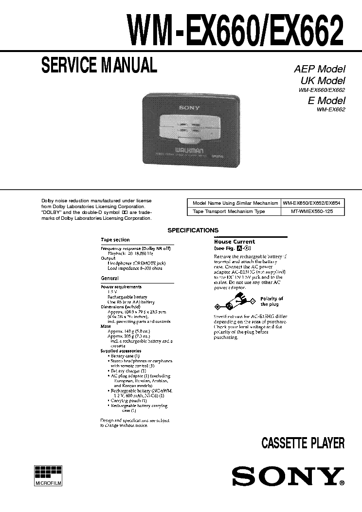 SONY WM-EX660 EX662 CASSETTE PLAYER Service Manual