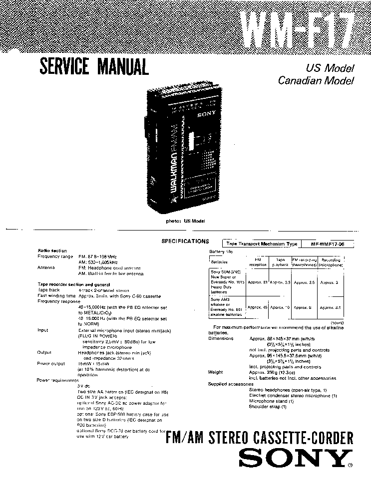 SONY WM-F17 Service Manual download, schematics, eeprom