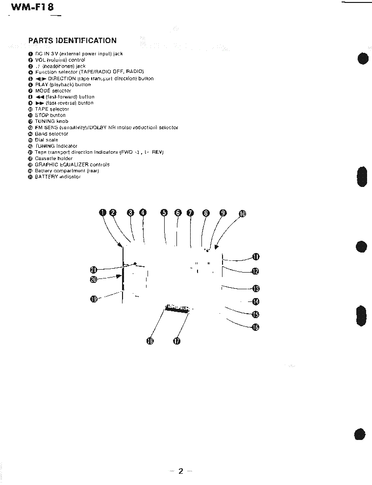 SONY WM-F18 Service Manual download, schematics, eeprom