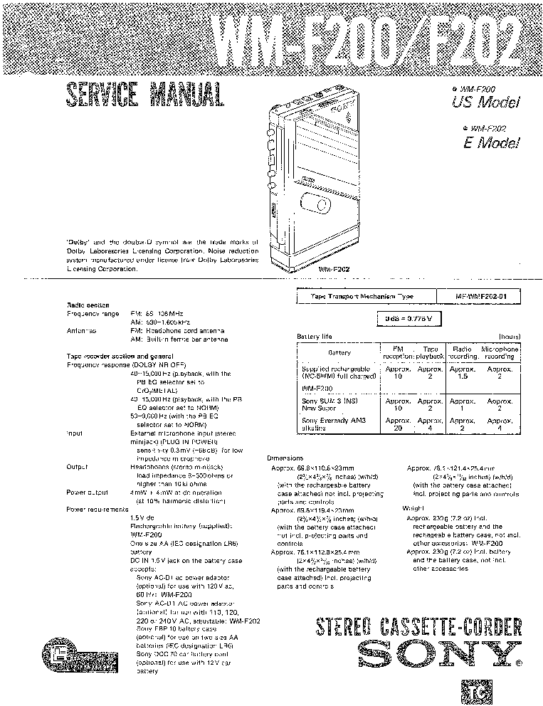 SONY ZS-D50 VER-1.1 Service Manual free download