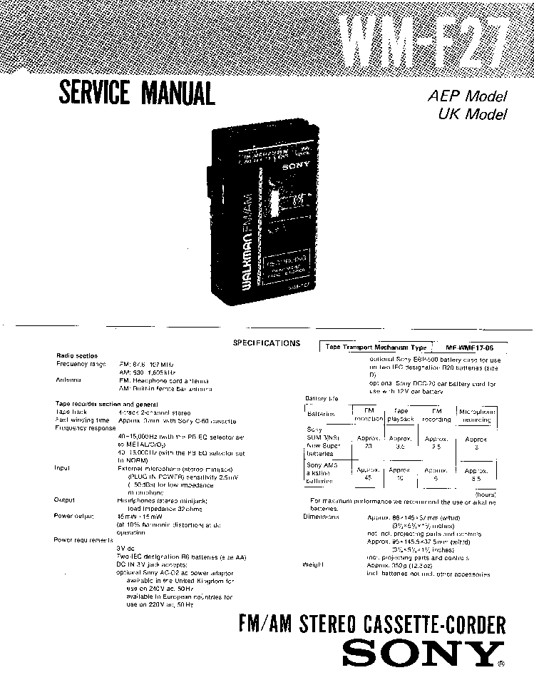 SONY CFD-6 Service Manual free download, schematics
