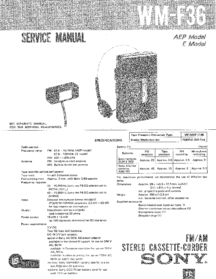 SONY WM-F36 Service Manual download, schematics, eeprom