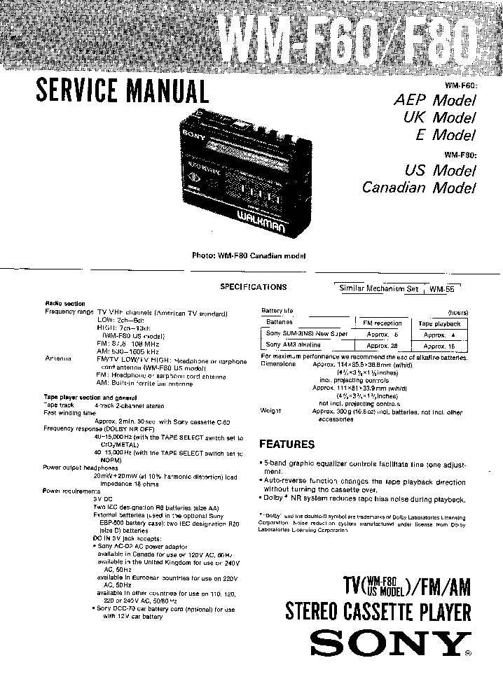 SONY WM-RX77 Service Manual free download, schematics