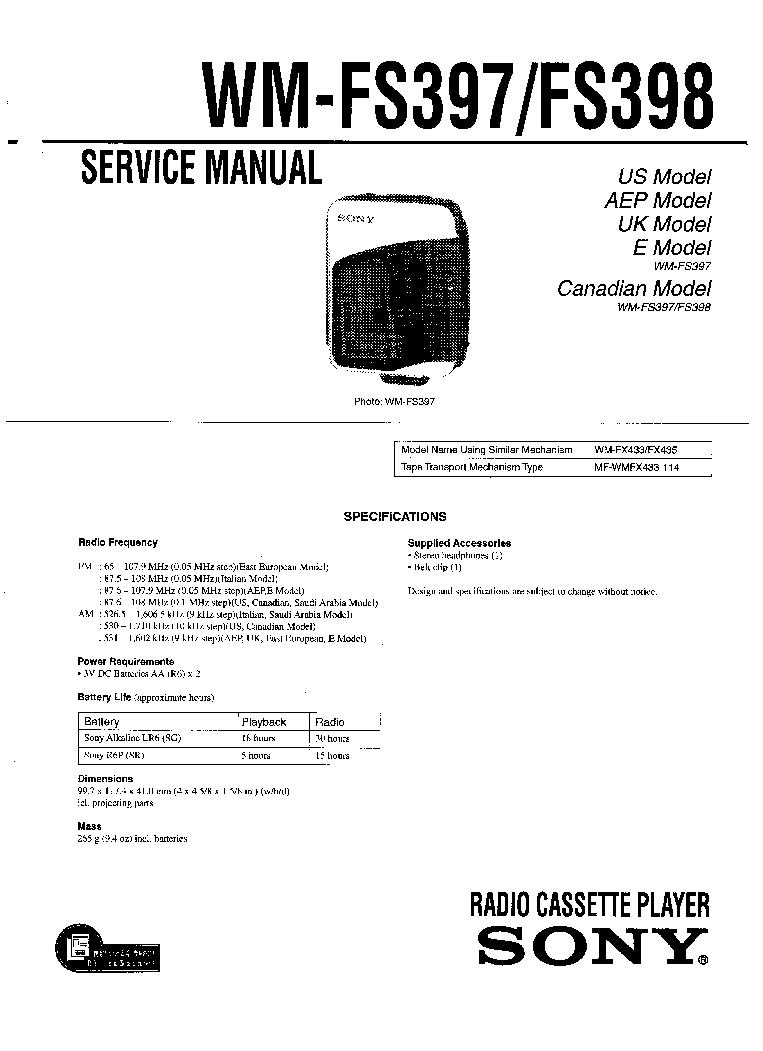 SONY WM-FS397 FS398 Service Manual download, schematics