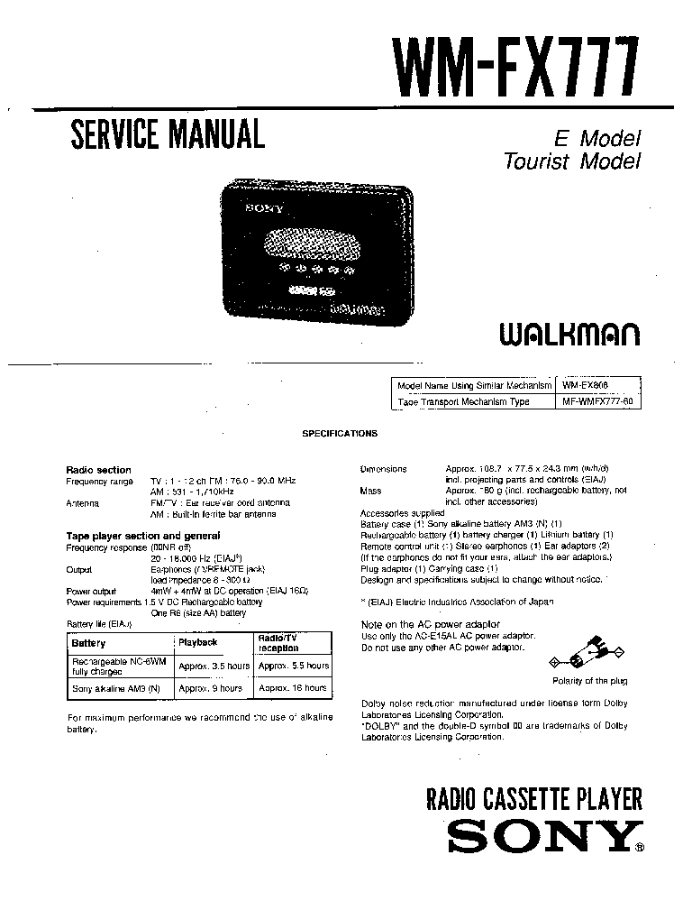 SONY WM-FX777 Service Manual download, schematics, eeprom