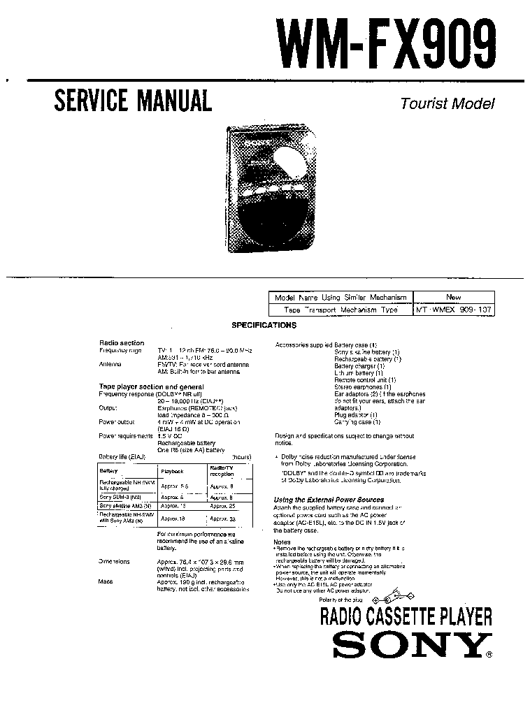 SONY WM-FX909 Service Manual download, schematics, eeprom