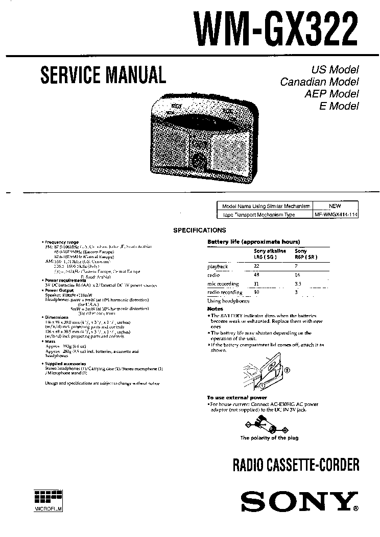 SONY WM-GX322 Service Manual download, schematics, eeprom