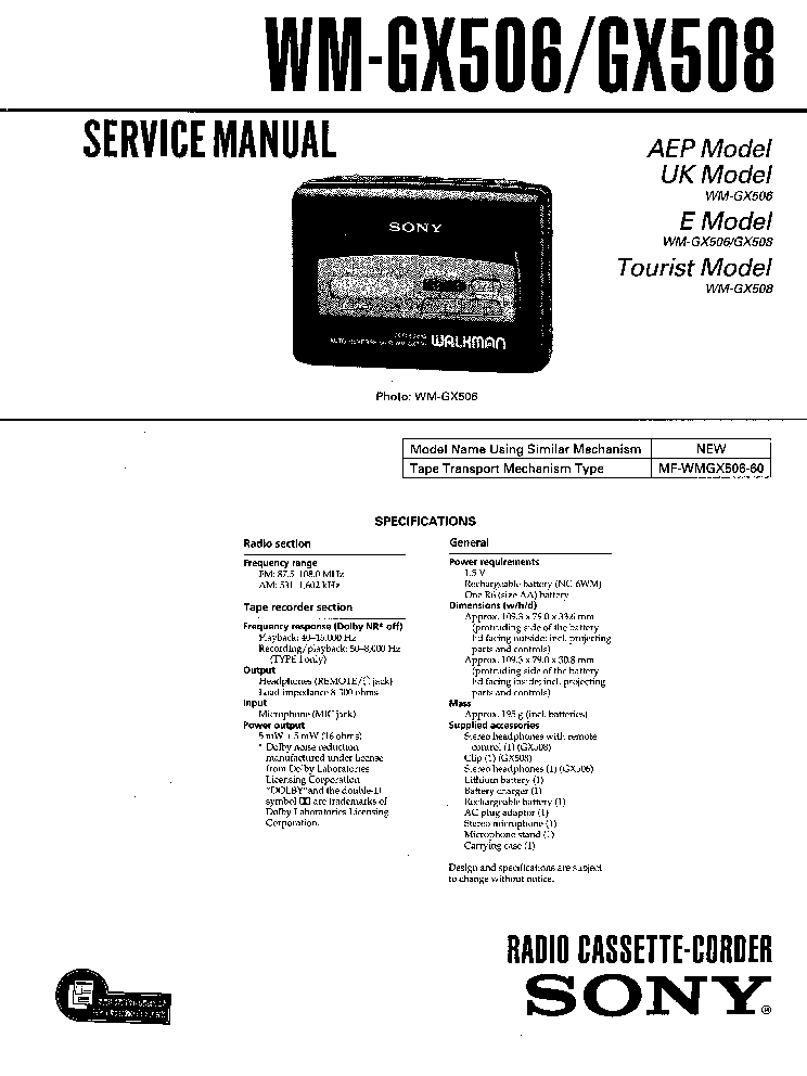 SONY WM-GX506 GX508 Service Manual download, schematics