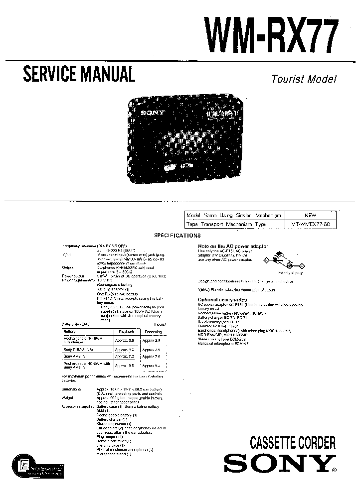 SONY WM-RX77 Service Manual download, schematics, eeprom