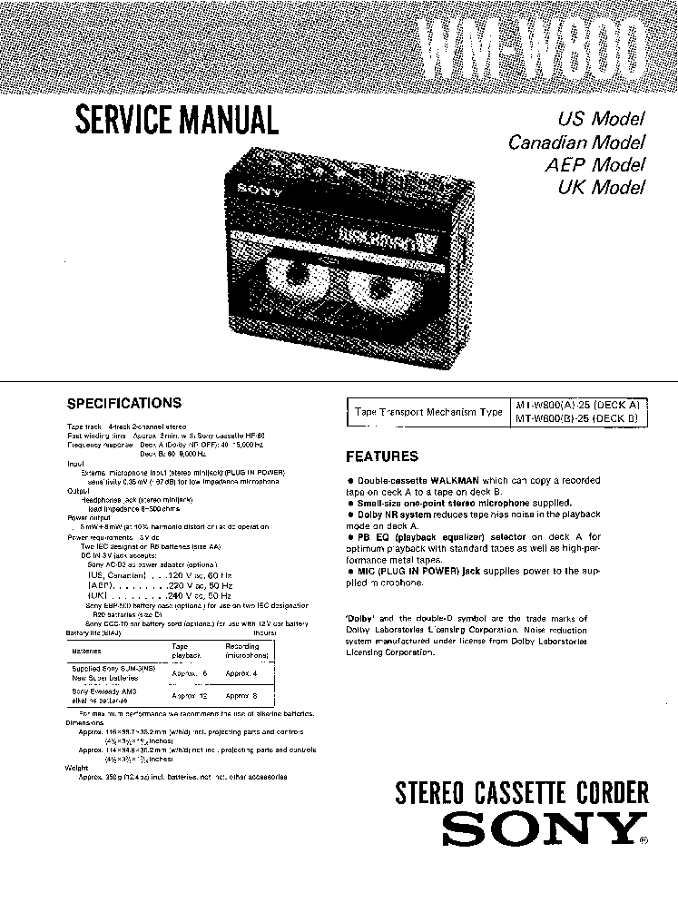 SONY WM-W800 Service Manual download, schematics, eeprom