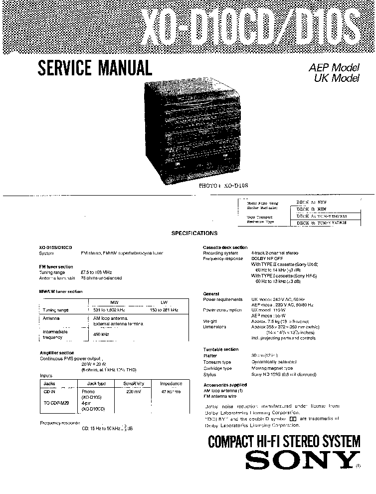 SONY XO-D10CD D10S Service Manual download, schematics