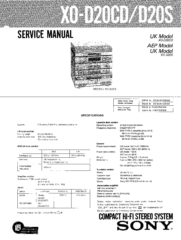SONY XO-D20CD D20S Service Manual download, schematics