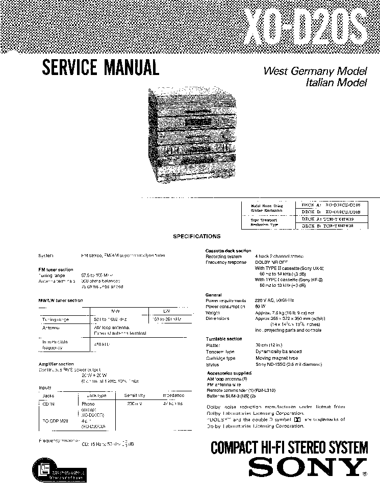 SONY STR-V55 Service Manual download, schematics, eeprom
