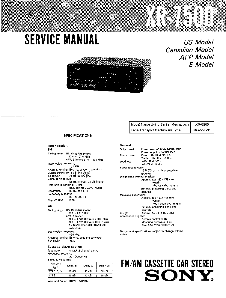 SONY XR-7500 Service Manual download, schematics, eeprom