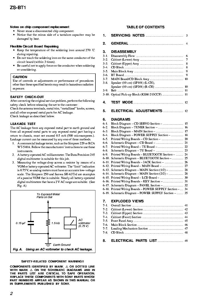 SONY ZS-BT1 VER.1.0 Service Manual download, schematics