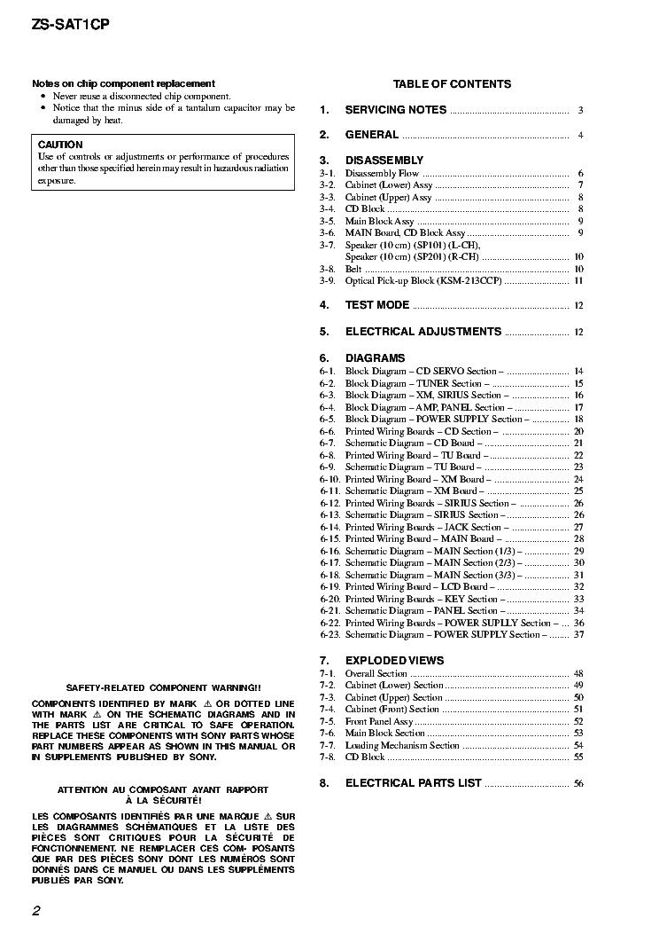 SONY ZS-SAT1CP VER.1.0 Service Manual download, schematics