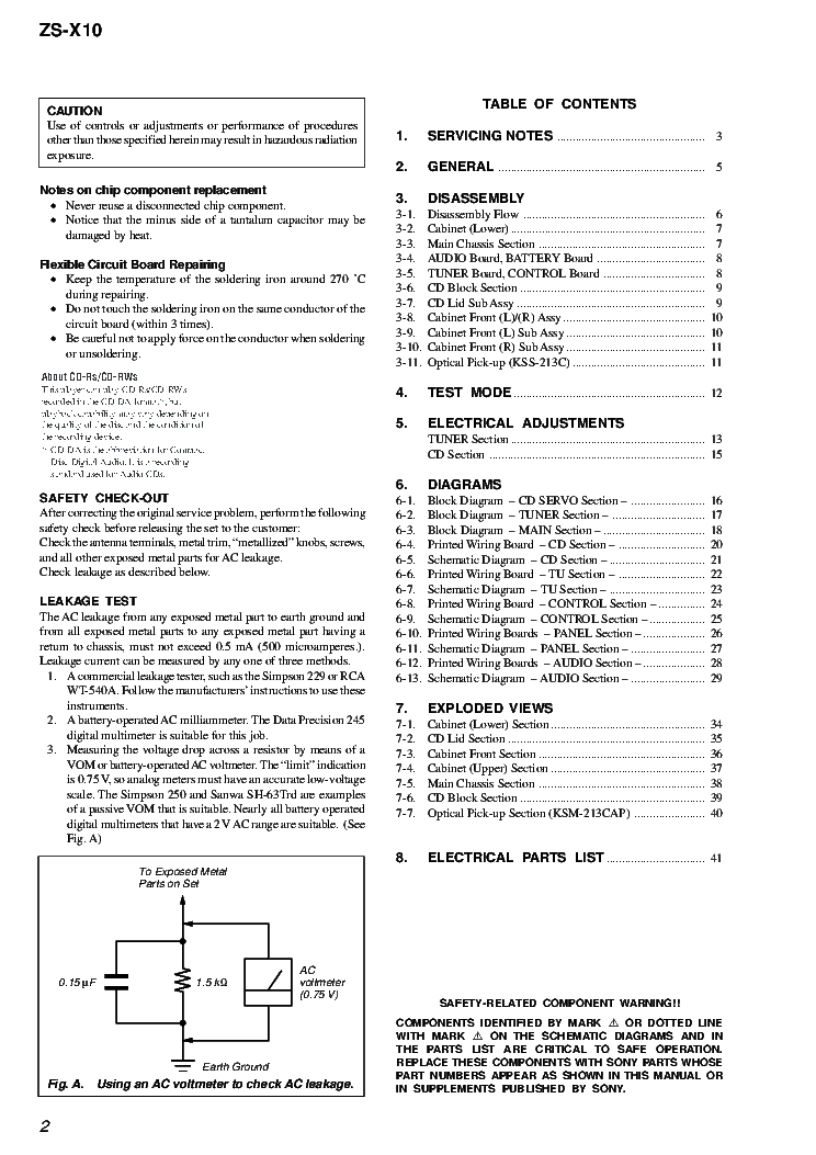 SONY ZS-X10 VER.1.0 Service Manual download, schematics