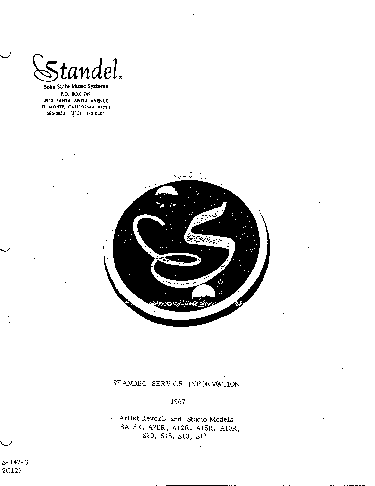 STANDEL 1967 Service Manual download, schematics, eeprom