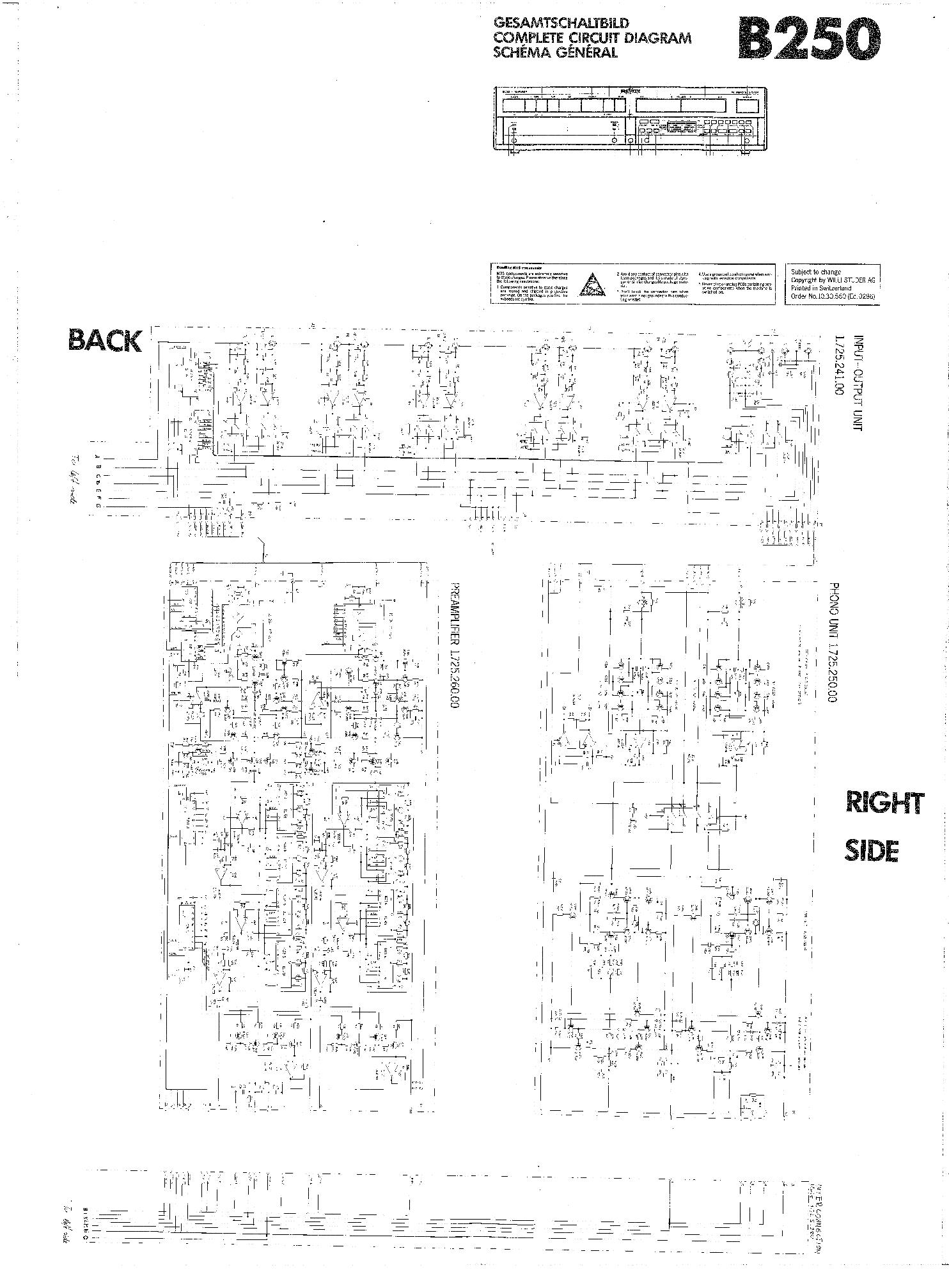 STUDER REVOX B250 SCH Service Manual download, schematics