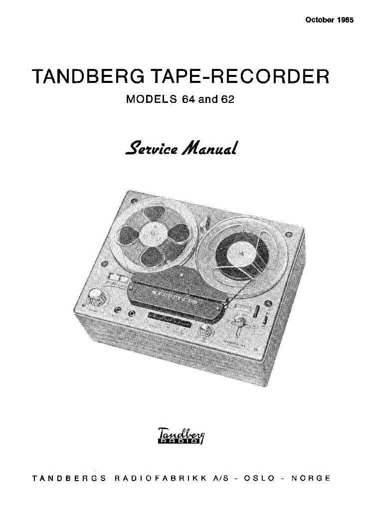 TANDBERG 62 64 TAPE RECORDER 1965 SM Service Manual