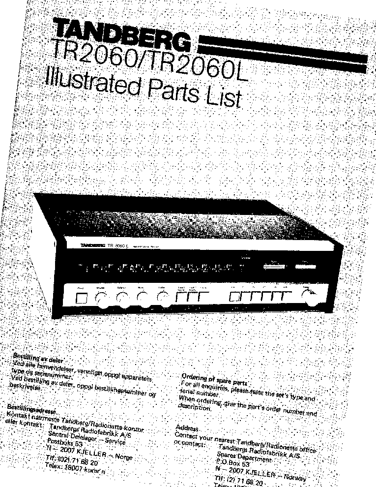 TANDBERG TR-2060 TR-2060-L STEREO RECEIVER ILLUSTR-PARTS