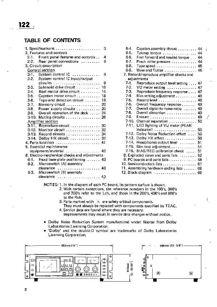 TASCAM 122 SM Service Manual download, schematics, eeprom