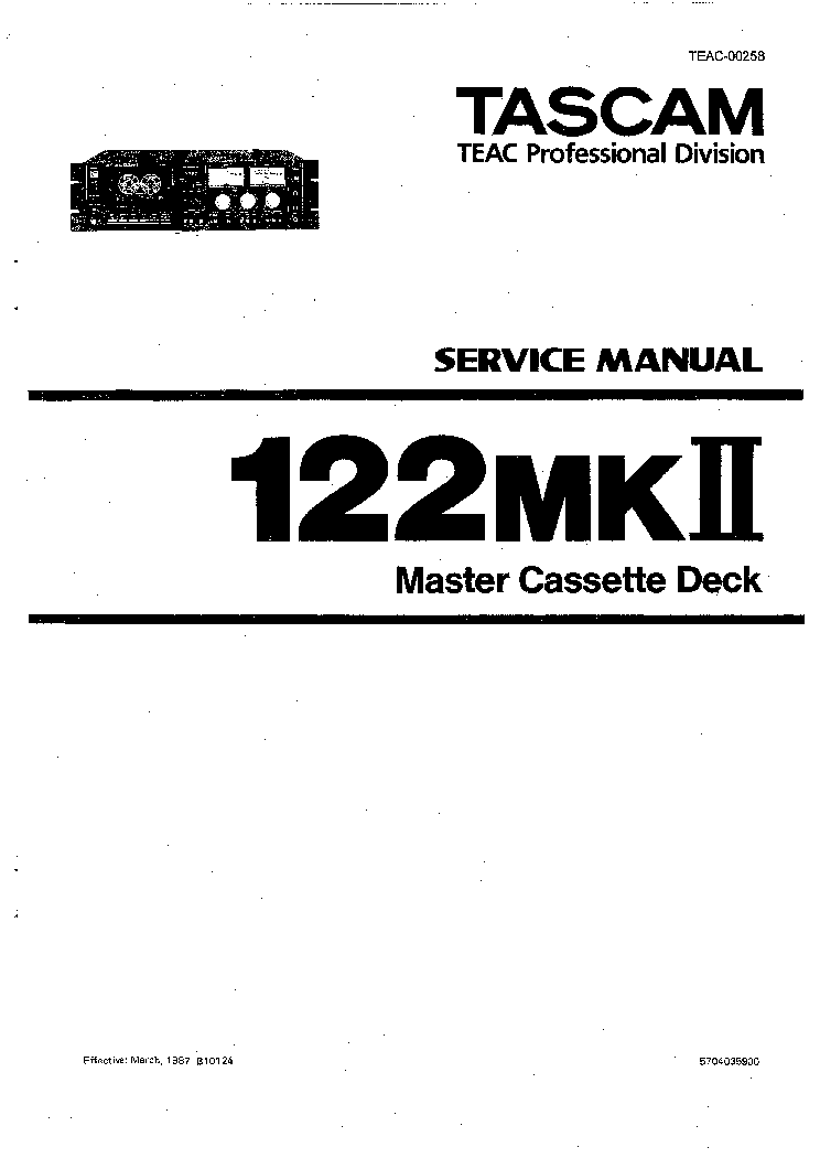 TASCAM 122MKII Service Manual download, schematics, eeprom